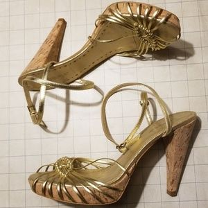BCBGirls Gold Strappy Sandal Heels size 8.5